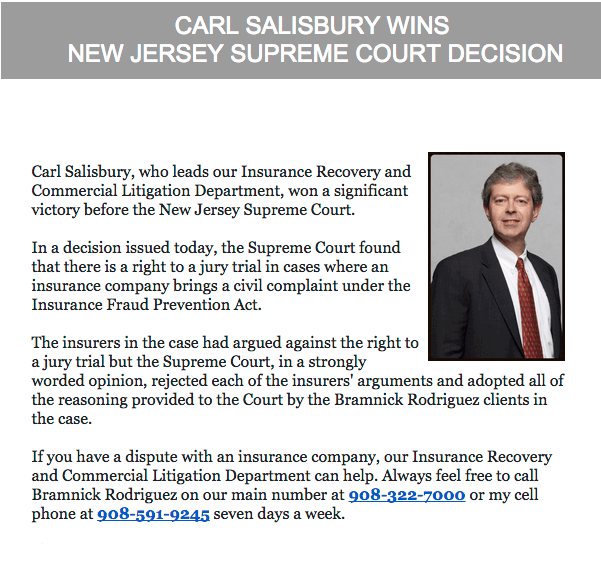 Carl Salisbury Wins New Jersey Supreme Court Decision | Bramnick Law